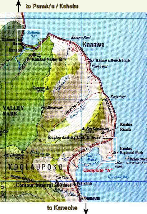Map of Kualoa County Park